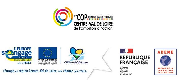 Logo de la COP Centre-Val de Loire, l'Europe s'engage, la Région Centre-Val de Loire, ADEME et République Française